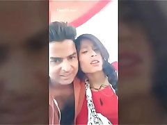 Indian college girl outdoor kissing