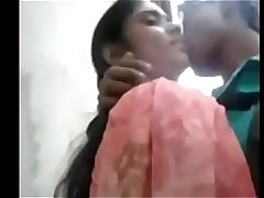 Indian desi school girl after exam outdoor kissing