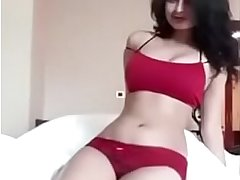 Desi hotel room girl in red undergarments before fuck